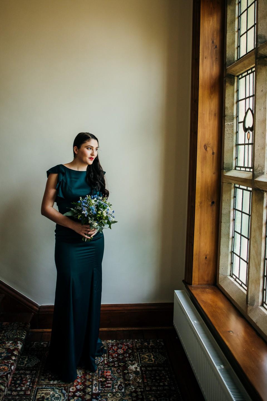 silk blue bridesmaids dress
