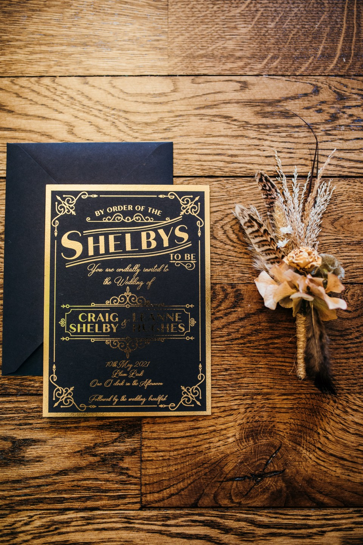 peaky blinders wedding - vintage wedding - 1920s wedding - themed wedding inspiration - art deco wedding invitation -vintage wedding invitation