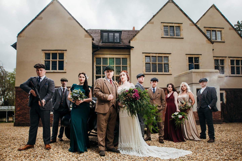 peaky blinders wedding - vintage wedding - 1920s wedding - themed wedding inspiration - group wedding photo ideas