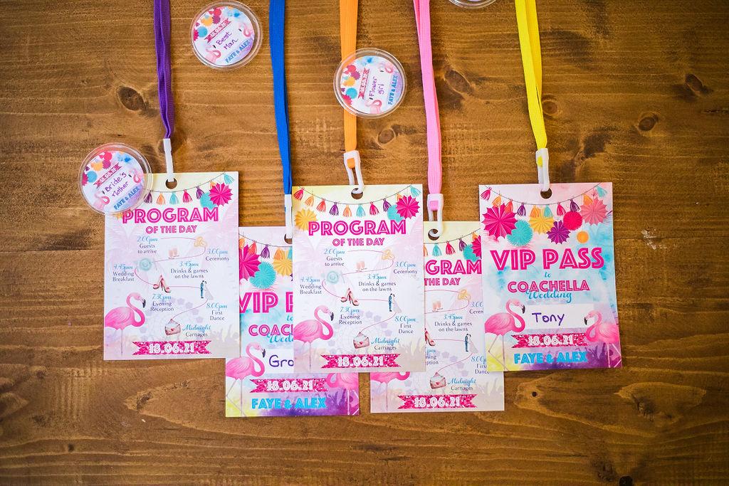 festival wedding stationery - VIP pass festival wedding - festival wedding ideas - fun wedding stationery