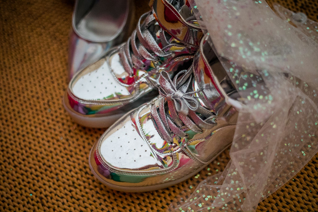 unique wedding shoes - bridal trainers - silver wedding shoes - alternative wedding shoes- unique bridal ideas