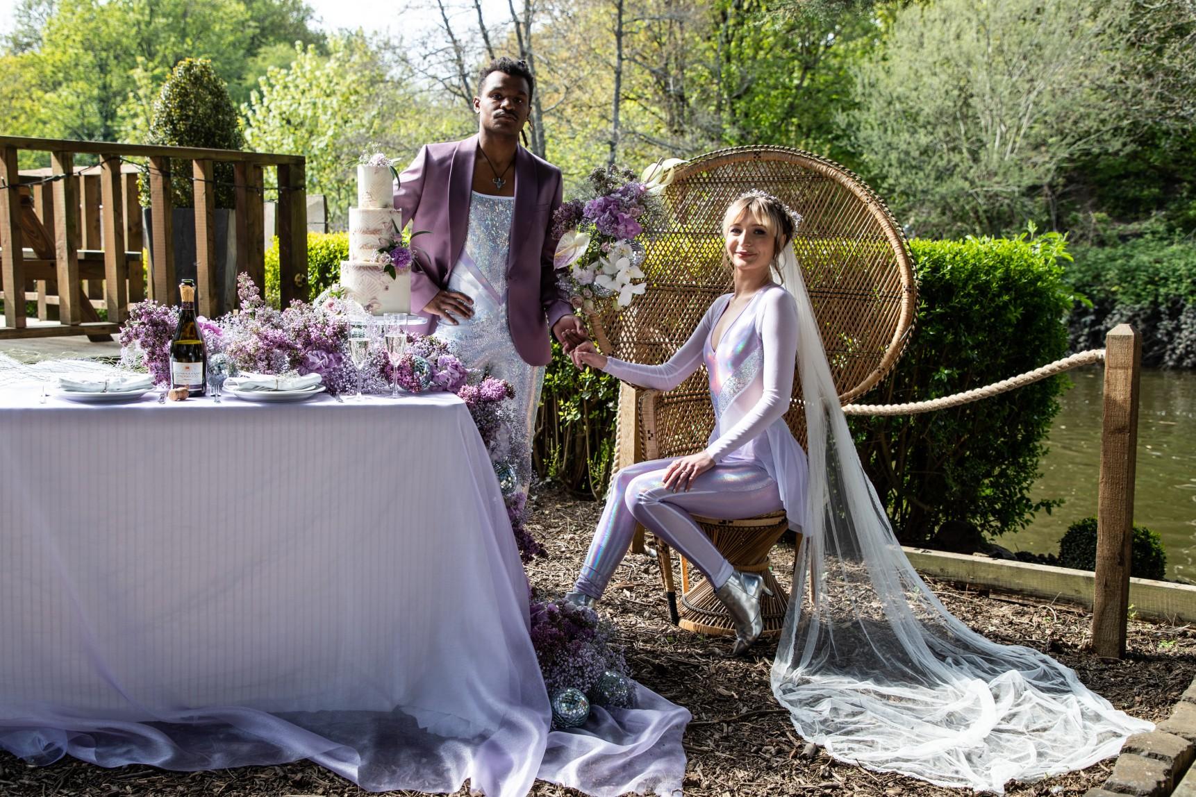 modern festival wedding - unique wedding wear - wedding jumpsuit - wedding catsuit - festival bride - unique wedding wear - unique wedding table - outdoor wedding styling - unconventional wedding