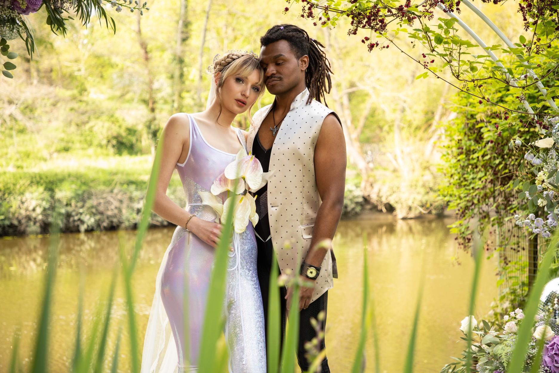 outdoor wedding ideas - modern festival wedding - unique wedding wear - wedding jumpsuit - wedding catsuit - festival bride - unique wedding wear