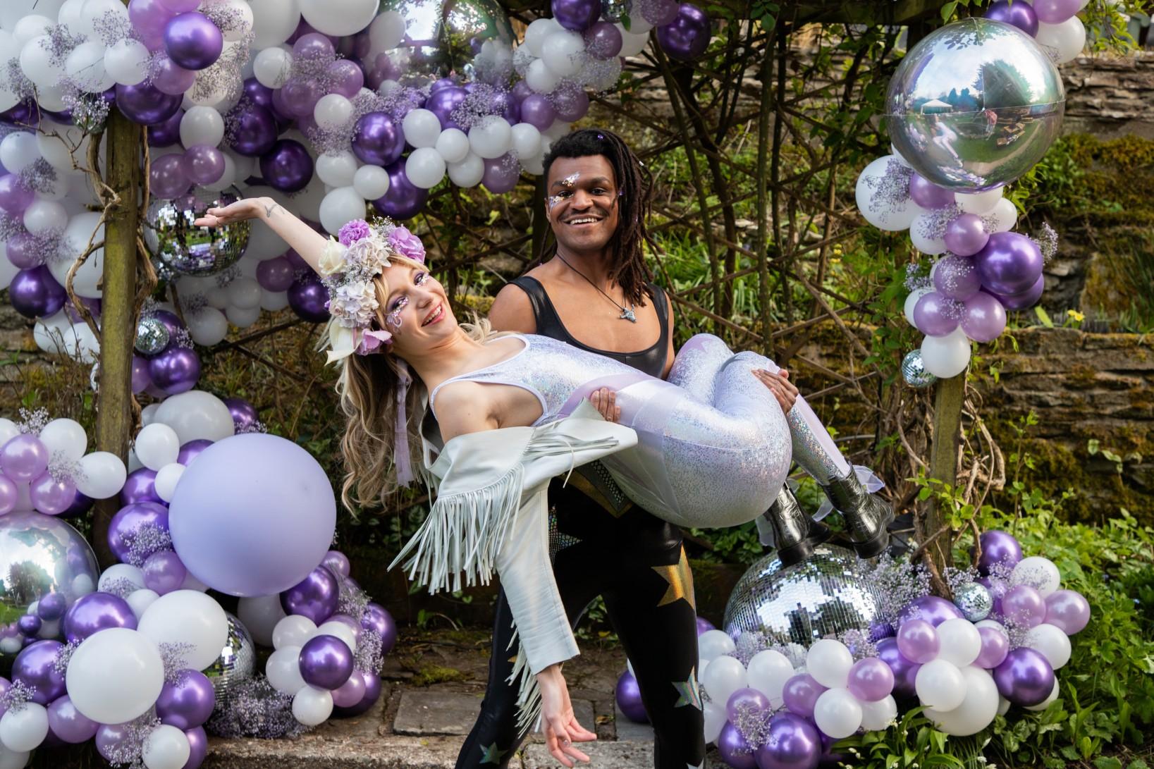 modern festival wedding - unique wedding wear - wedding jumpsuit - wedding catsuit - festival bride - unique wedding wear - purple wedding - wedding bodysuit
