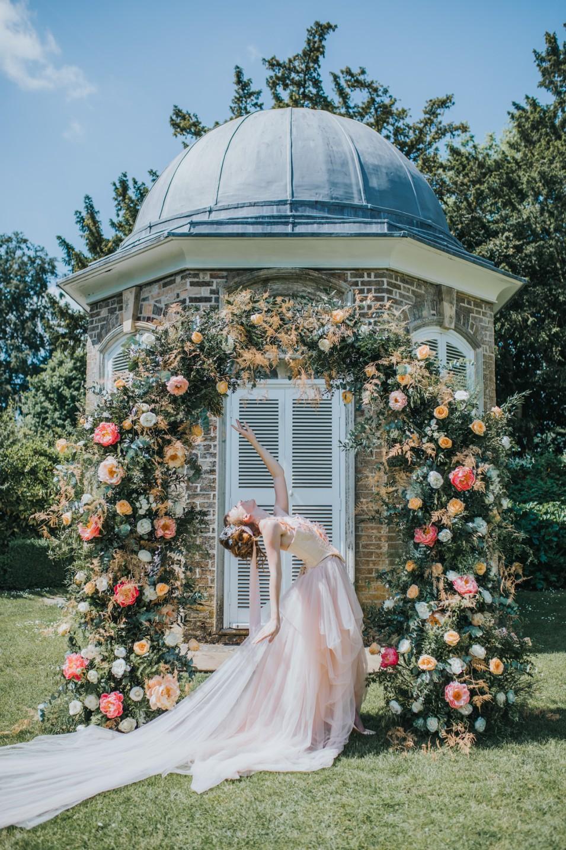 bridgerton wedding - regency wedding - whimsical wedding - wedding arch - wedding floral archway - vintage wedding - fairytale wedding dress - unique bridal wear - peach wedding dress - elegant wedding dress