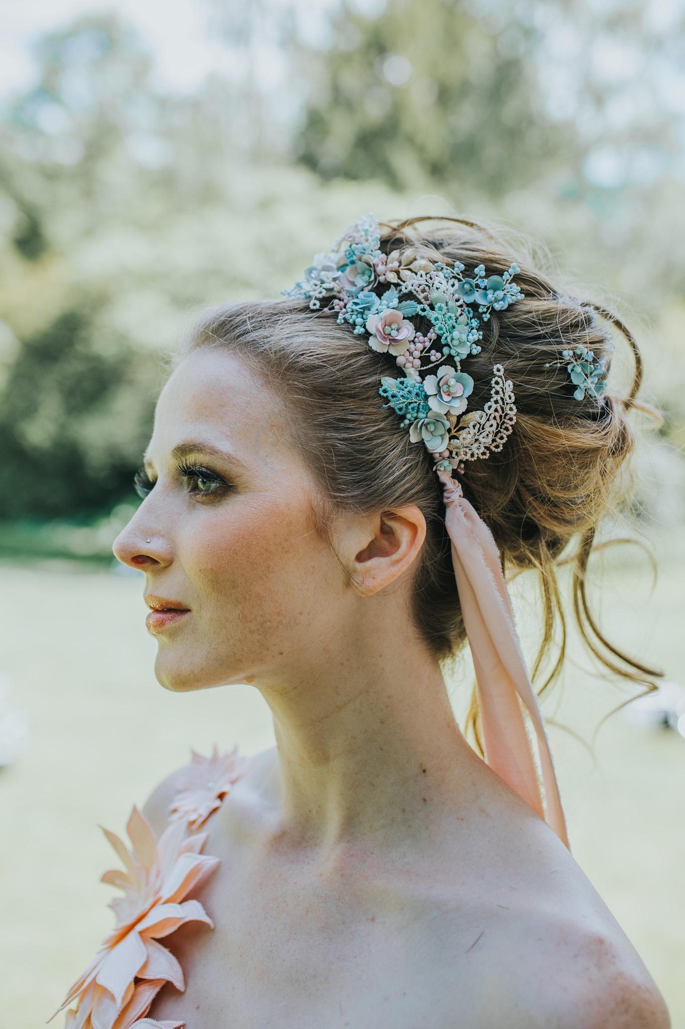 unique bridal wear - unique bridal hair - unique bridal headdress