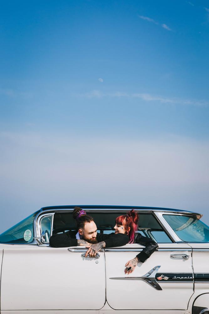 Road trip wedding inspiration - alternative elopement inspiration - alternative wedding couple - chevvy wedding