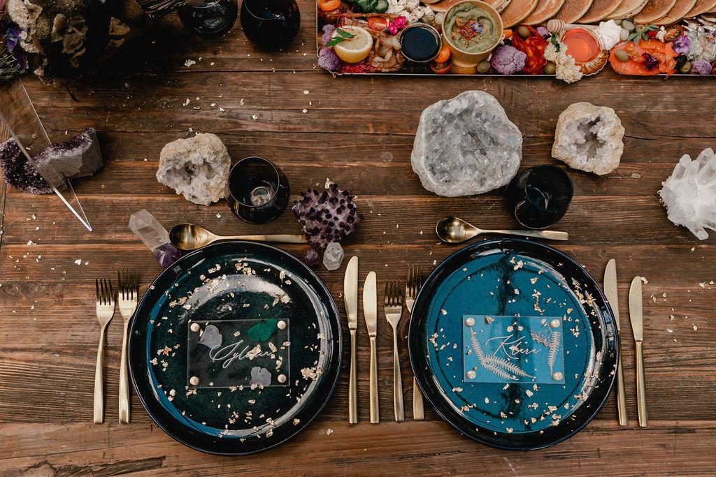 alternative celestial wedding - wedding crystals - celestial wedding styling - unique wedding table wear - celestial wedding stationery