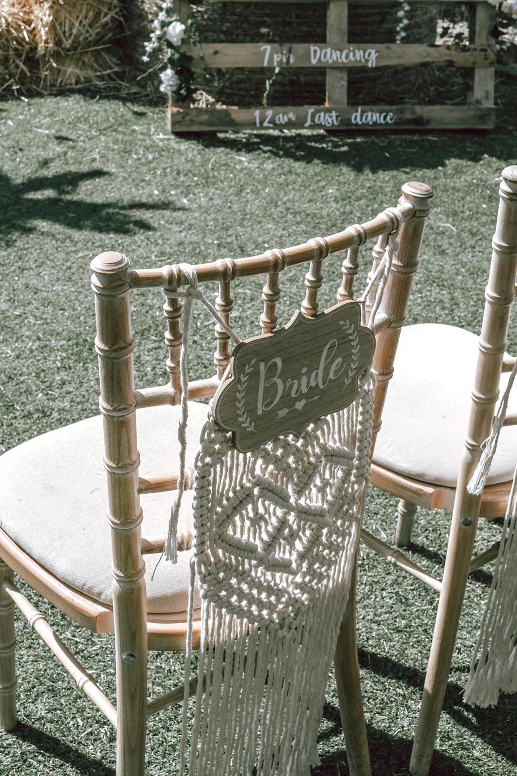 rustic festival wedding - macrame chair decoration - macrame wedding decor