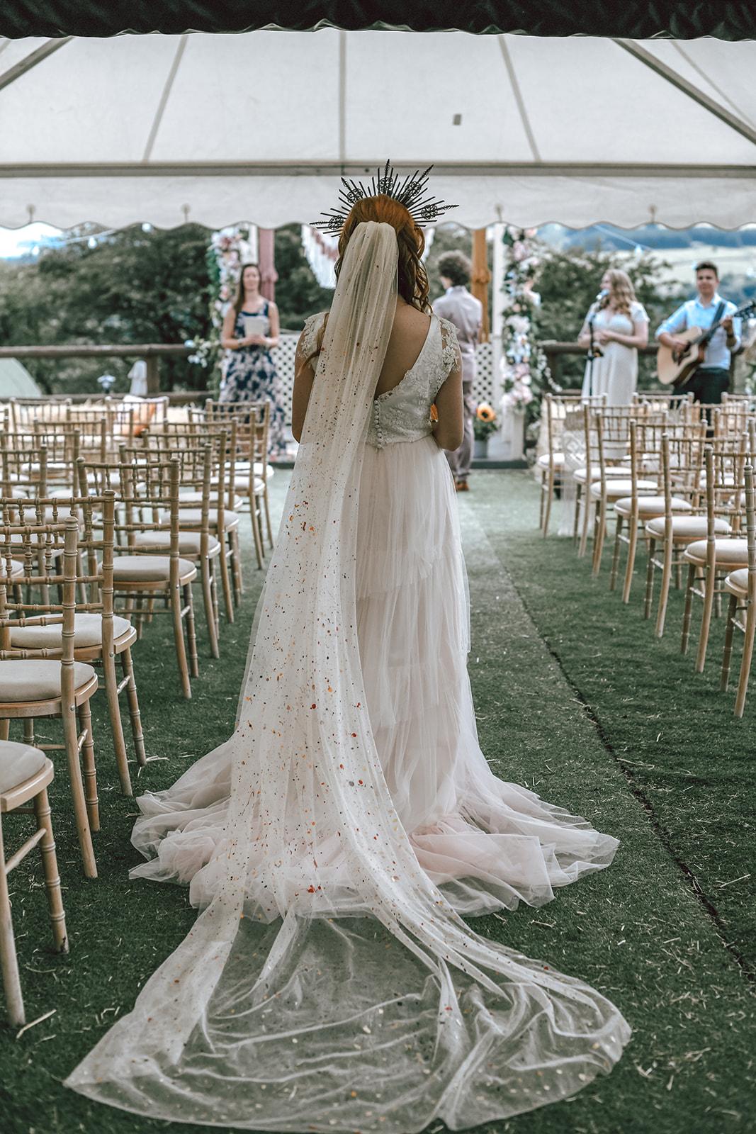 rustic festival wedding - hand painted veil - unique wedding veil - outdoor wedding ceremony