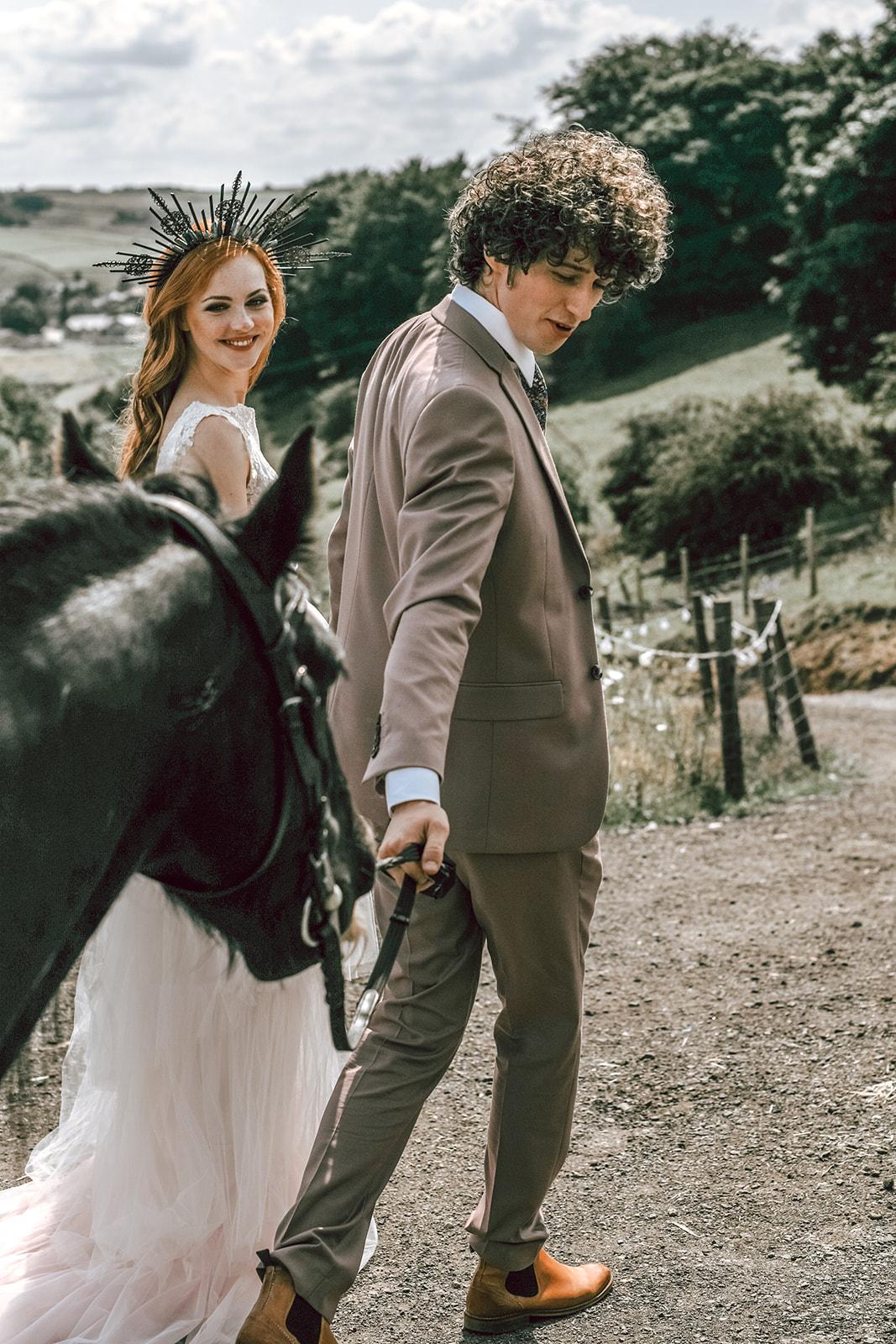 rustic festival wedding - wedding horse - boho outdoor wedding - farm wedding