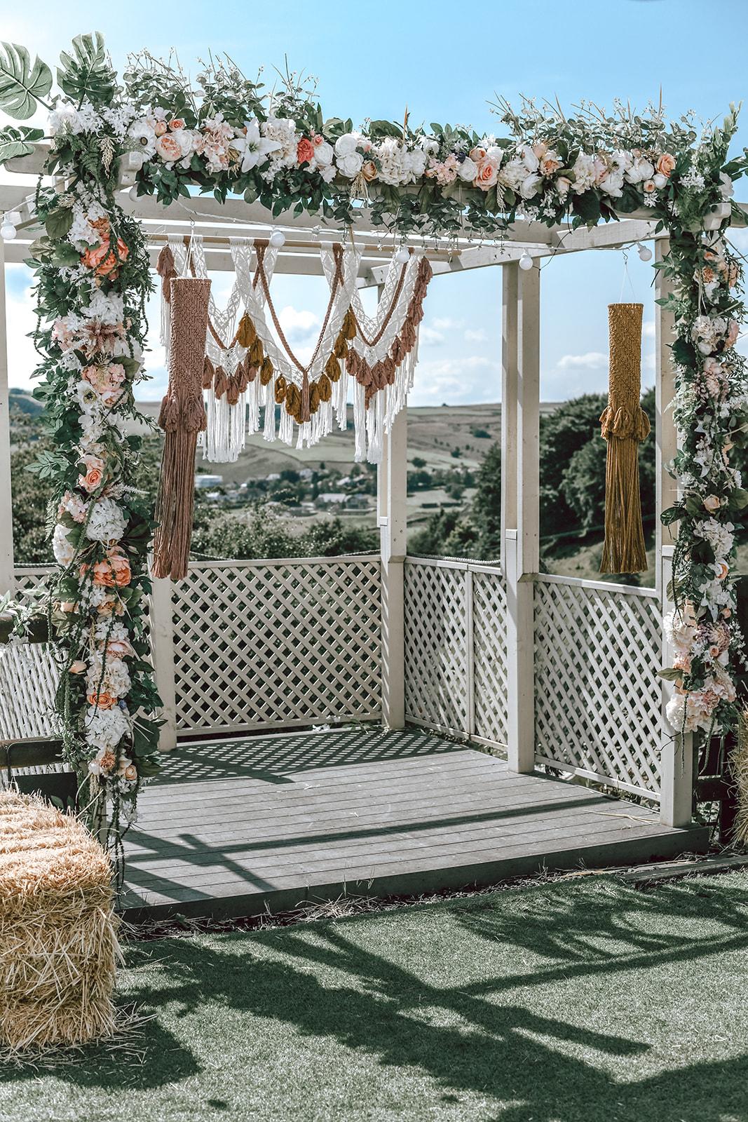 rustic festival wedding - outdoor wedding ceremony - macrame wedding decor - boho wedding ceremony