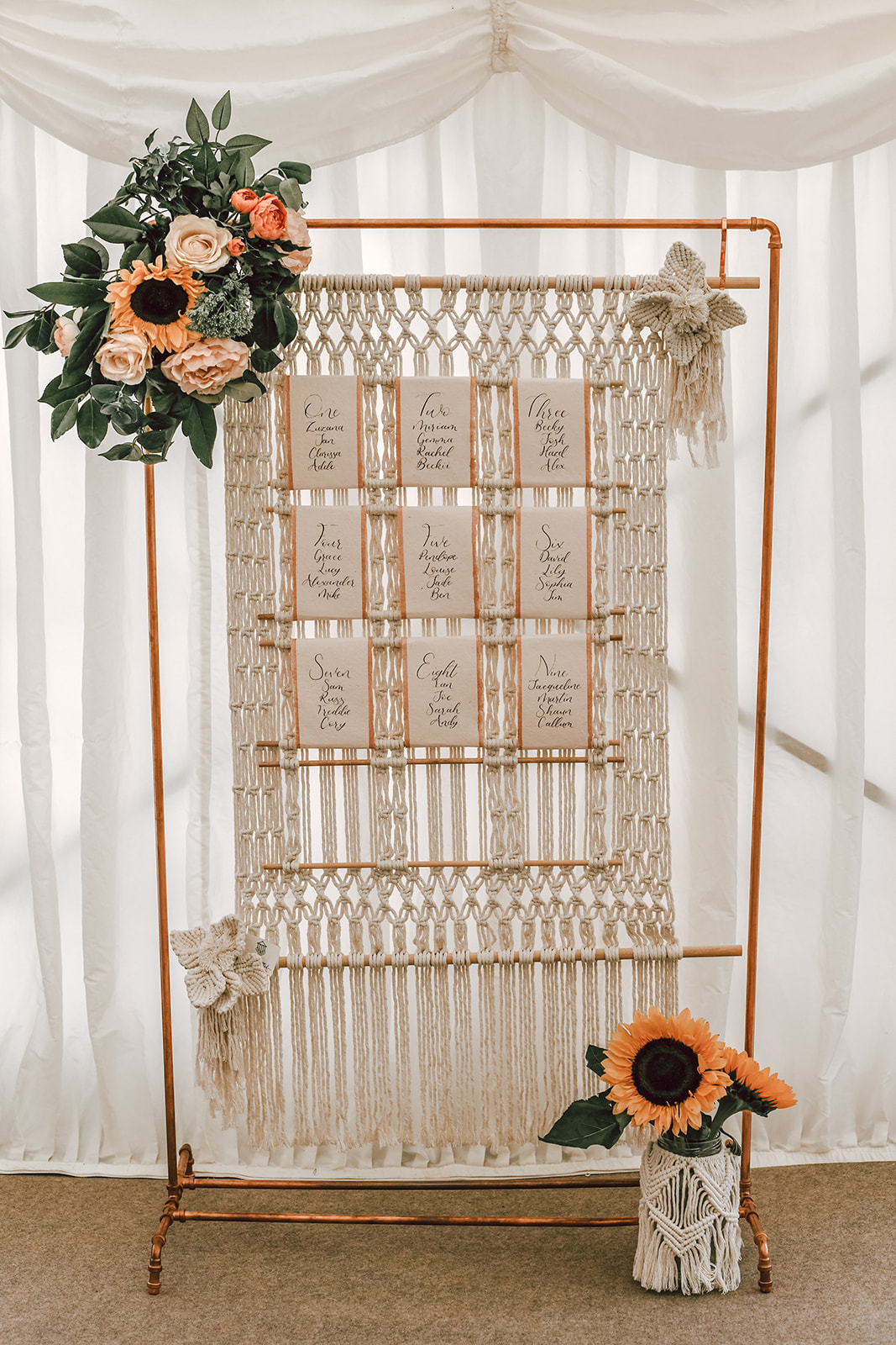 rustic festival wedding - macrame wedding seating plan - sunflower wedding - unique wedding stationery - boho wedding seating plan