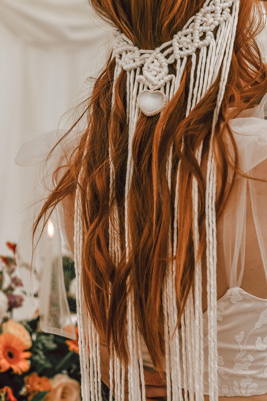 macrame headpiece - wedding macrame - unique wedding headpiece - unique bridal wear