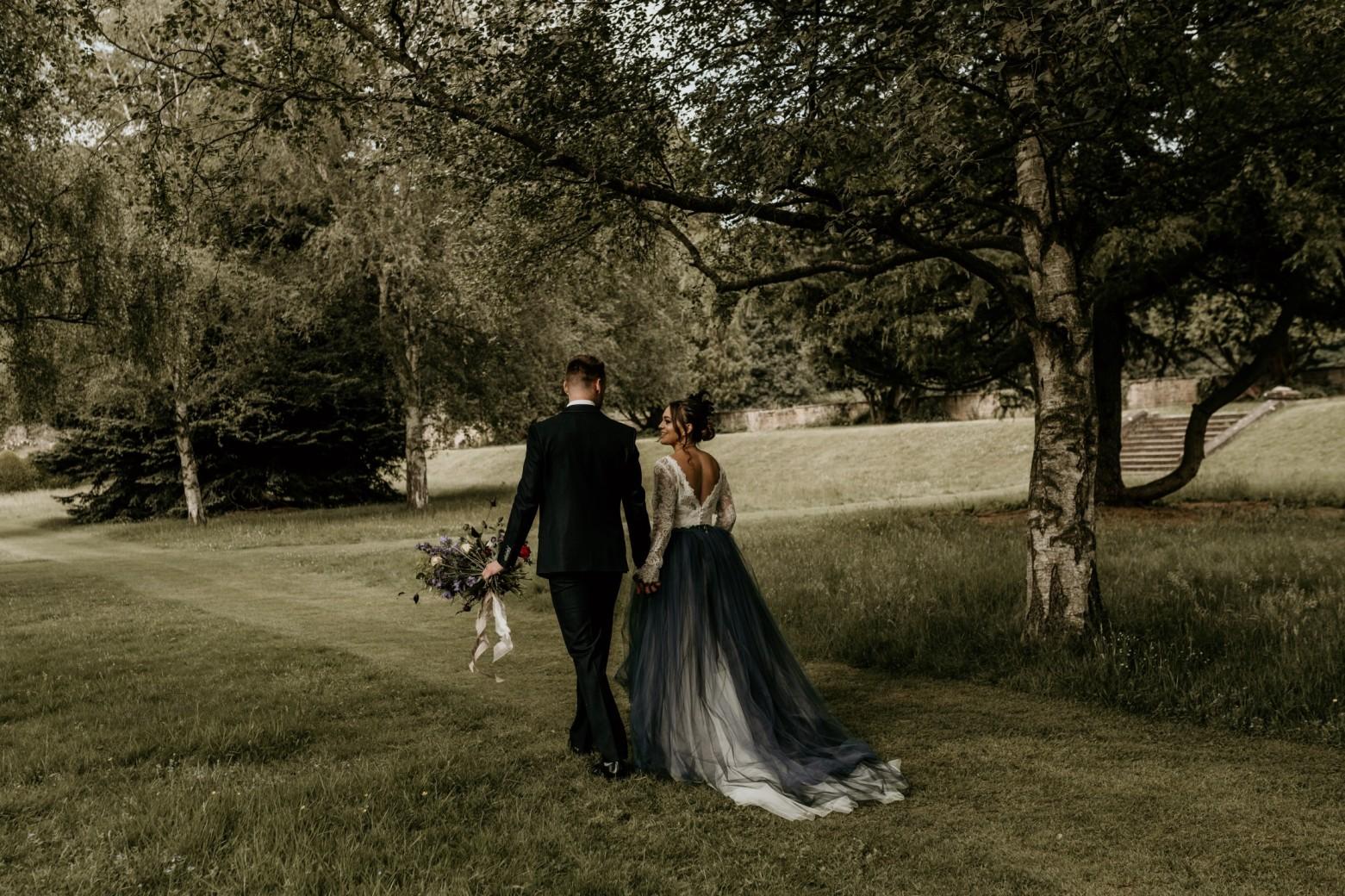 country garden wedding at newstead abbey - coloured wedding dress - alternative wedding dress - unconventional wedding