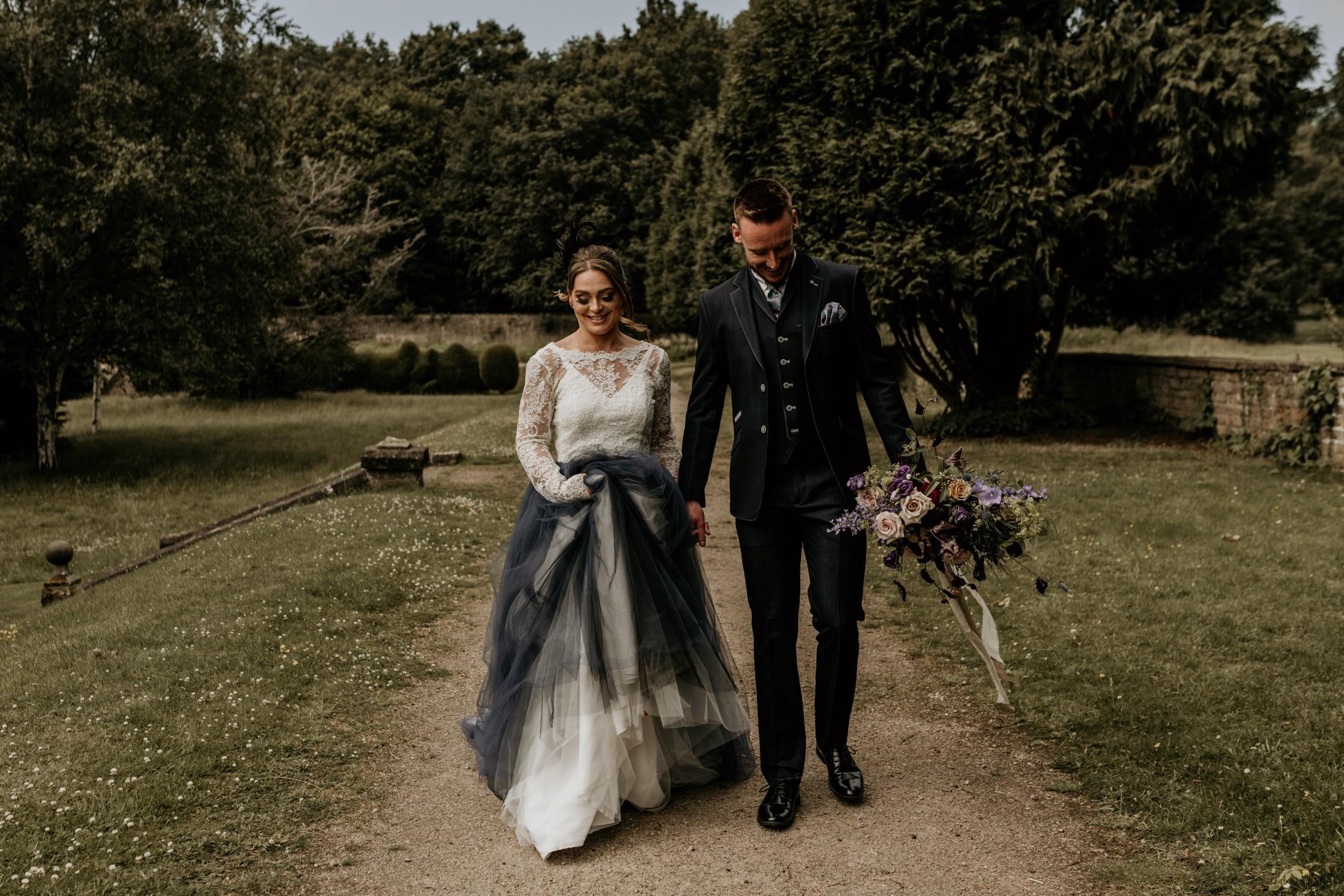 country garden wedding - alternative wedding dress - coloured wedding dress - peacock inspired wedding