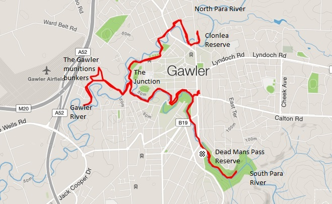 Gawler Rivers Trail map of the not so steep sections of the trail