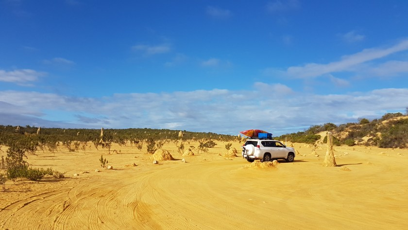 Derek driving ahead on the Pinnacles Desert Loop in the hope of getting some action shots