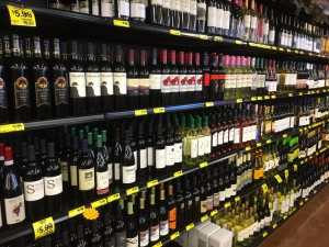 Large wine selection at Grocery Outlet