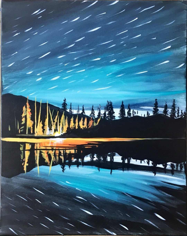 Campfire Under Stars