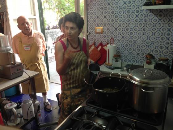 at stove