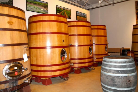 Wines are aged in oak barrels for 16 month ~ up close in the members' tasting room