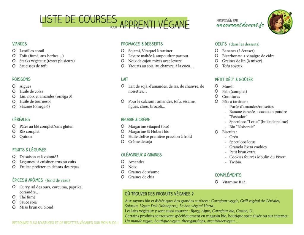 liste de courses vegane