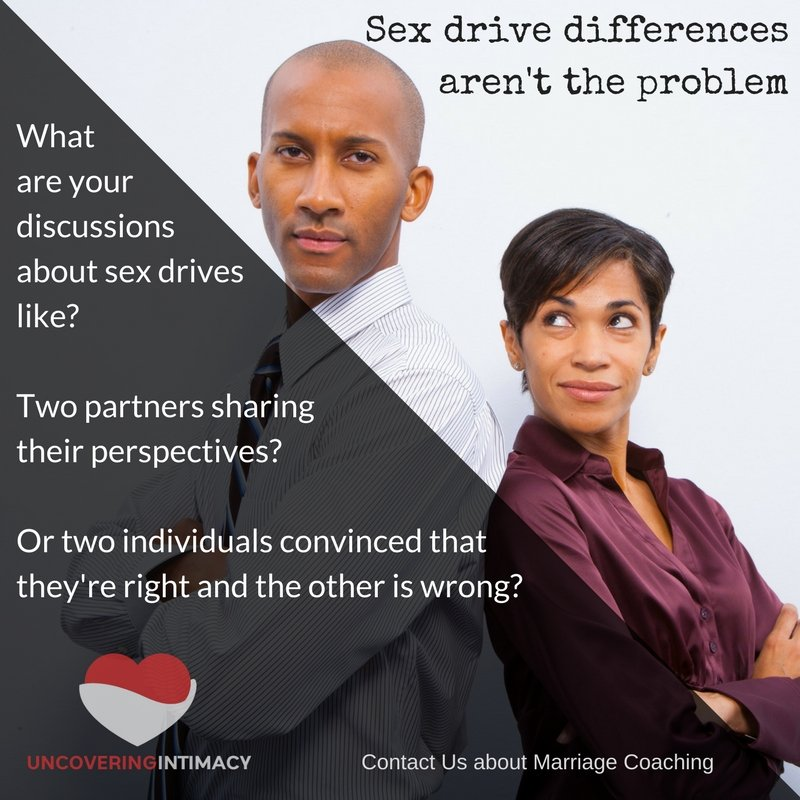 Sex drive differences aren't the problem. What are your discussions about sex drives like? Two partners sharing their perspectives? Or two individuals convinced that they're right and the other is wrong?