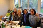 Arline, Joan (descendant of Liba Piwko and Jacob Winawer), Krysia (descendant of Halina Piwko Bereday), and Jodi (Joan's daughter)