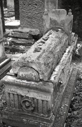 Remuh cemetery, 1992. Stones left on a tombstone