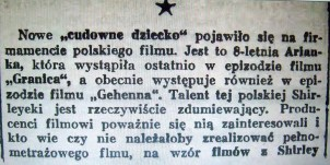 """Review of Ariana Spigiel's performance in Gehenna. She is called the """"Polish Shirley Temple."""" In Kurier Filmowy 1938, vol. 12, nr.27."""