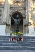 Pope John Paul II statue in front of All Saints' Church