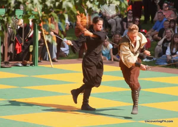 A sword fight during the Chess Match and the Pennsylvania Renaissance Faire.