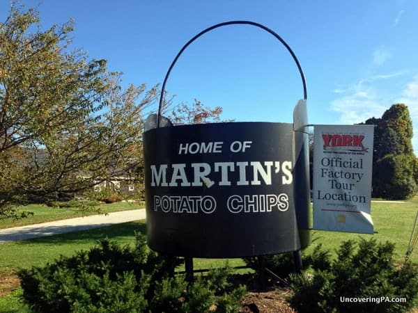 This street signs welcomes visitors to the Martin's Potato Chip Factory Tour.