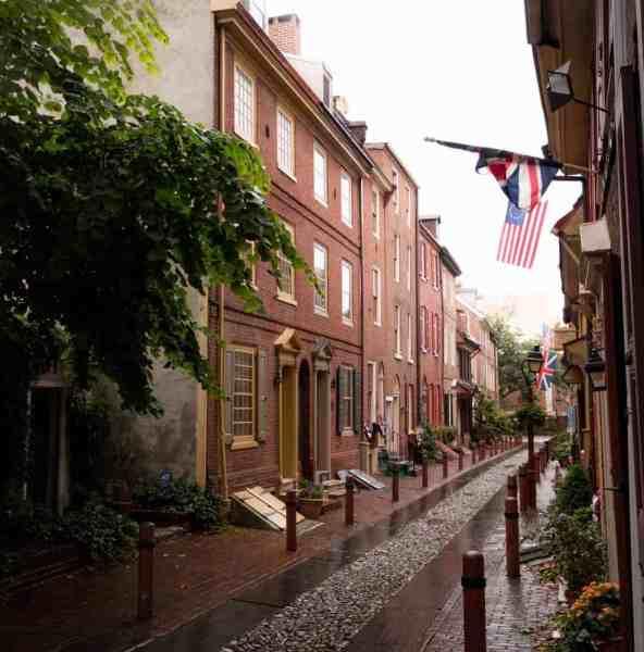 Elfreth's Alley in Philadelphia on a rainy day