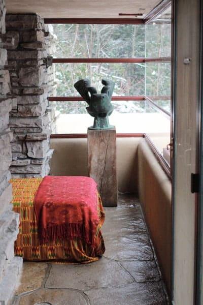 The interior of Frank Lloyd Wright's Fallingwater in Pennsylvania.