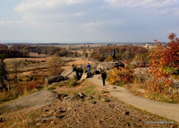 Looking out over the Gettysburg Battlefield from the top of Little Round Top in Gettysburg, Pennsylvania.