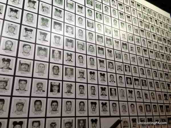 Some of the firefighters who died in the 9/11 Terrorist Attacks. Their photos line the stairwell of the National Liberty Center in Philadelphia, Pennsylvania.