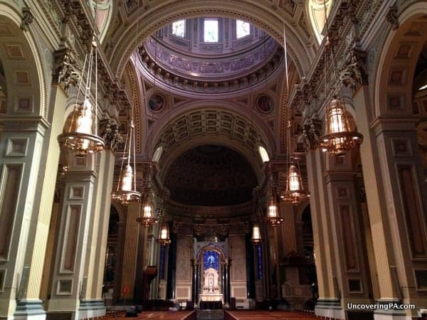 The beautiful interior of the Cathedral Basilica of Saints Peter and Paul.