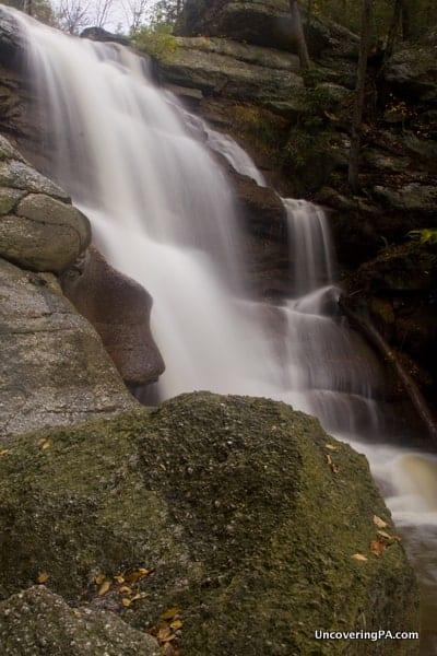 A side view of the beautiful Swatara Falls.