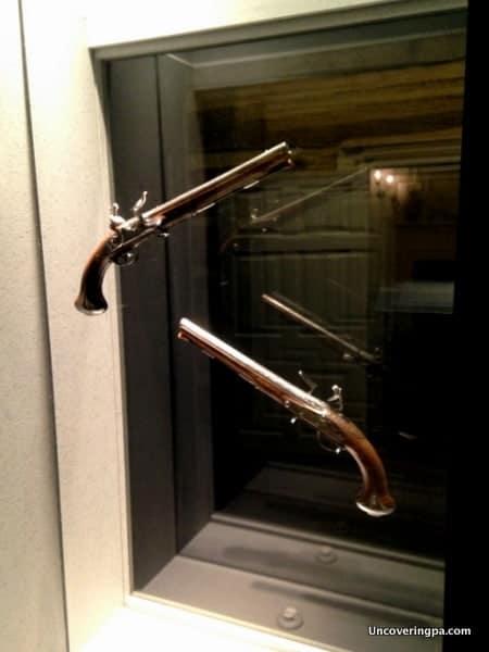 George Washington's pistols on display at the Fort Ligonier Museum.