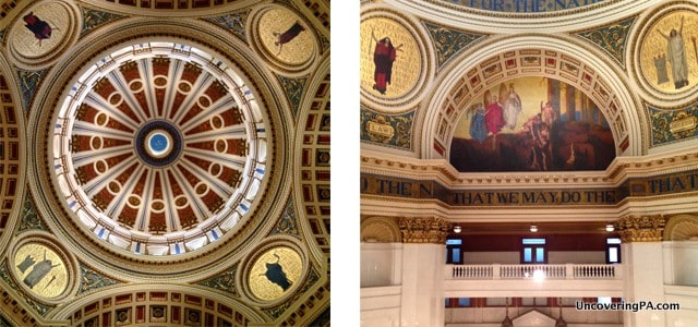 Some of the beautiful artwork inside the rotunda of the Pennsylvania State Capitol