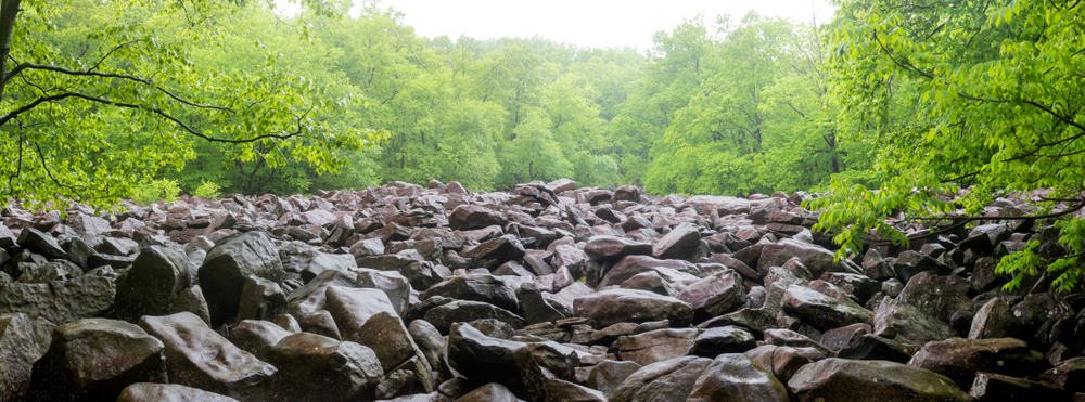 The boulder field at Ringing Rocks County Park in Bucks County, Pennsylvania.