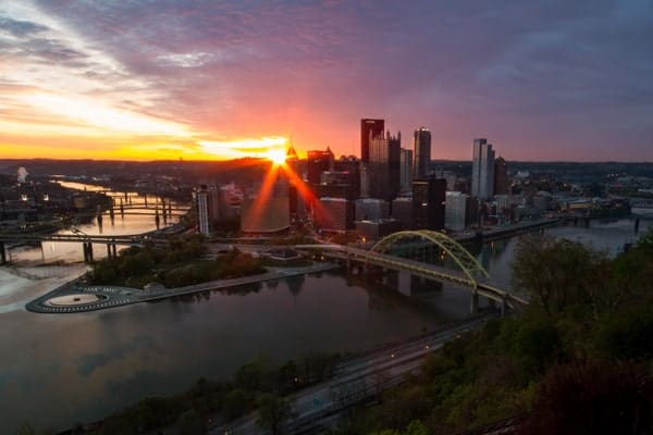 Sunrise from Mount Washington in Pittsburgh, PA