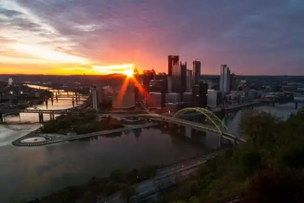 Sunrise from Mount Washington in Pittsburgh, PA
