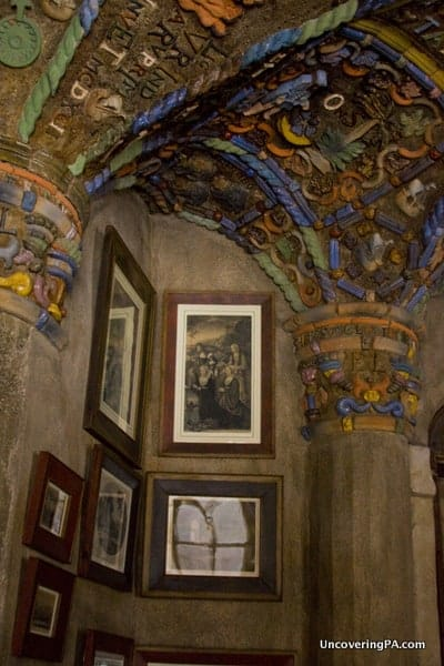Mural decorations along the ceiling with several of Mercer's favorite pictures inside of his office at Fonthill Castle in Doylestown, Pennsylvania.