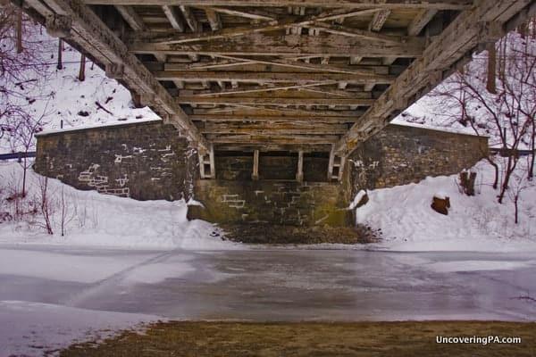 Visiting Manasses Guth Covered Bridge in Lehigh County, Pennsylvania.