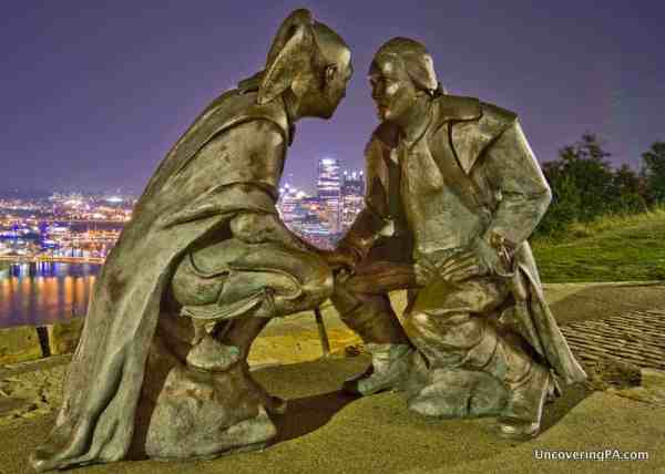 The statue of Washington and Guyasuta on top of Mount Washington in Pittsburgh