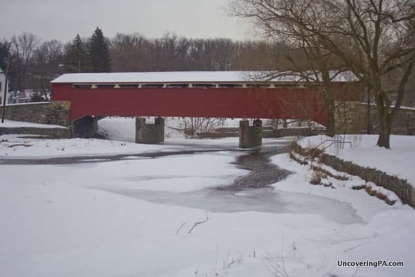 Visiting Wehr's Covered Bridge in Lehigh County, Pennsylvania.