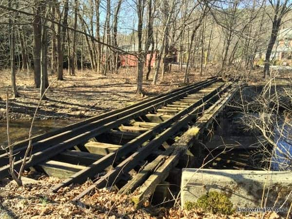 Old train tracks crossing near Little Gap Covered Bridge in Carbon County, PA